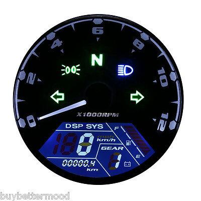 Universal LCD Digital Motorcycle Speedometer Tachometer Odometer Scoot Gauge US