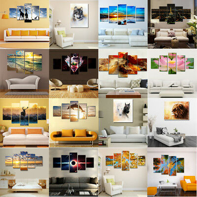 5Pcs Modern Art Oil Landscape Painting Canvas Print Wall Art Picture Home Decor