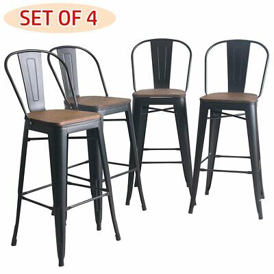 Set of 4 High Back Metal Counter Stools with Wood Seat and Backrest Bar Stools Black Wood Bar Stools