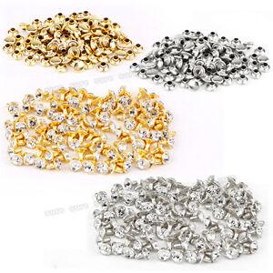 200x 7mm Crystal Diamond Diamante Gem Spike Stud Rivet Shoes Clothing Making
