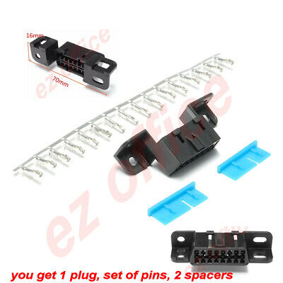 OBD2 16Pin Female Connector Cable OBDII Female Wire Socket Car Plug J1962 Shell