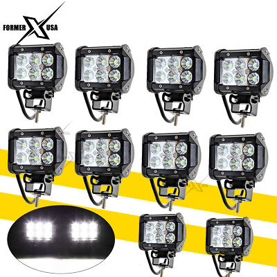 10x 4inch 36W LED Work Lights Pods Cube FLOOD Beam Offroad Fog Driving Light 12V