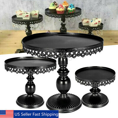 3Pcs Cake Stand Cupcake Dessert Display Holder Wedding Birthday Party Home  US - Black Cake Stands