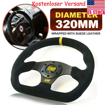 320mm Black Suede Leather Flat Racing Sport Steering Wheel OMP Superquadro 12.6