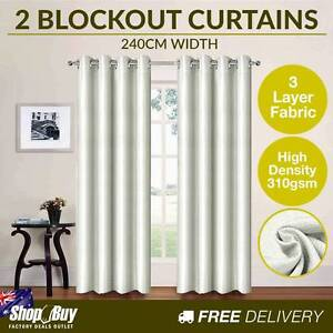 Brand New: 2 x Luxury Eyelet Blockout Curtain Room Darkening 310 Sydney City Inner Sydney Preview