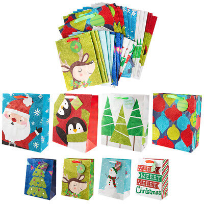 - 24 Assorted Christmas Gift Bags Set Holiday Large Medium Foil Glitter Handles