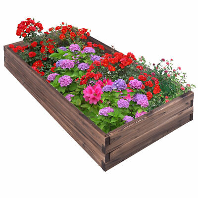 Wooden Raised Garden Bed Kit Elevated Planter Box For Growing Herbs Vegetable