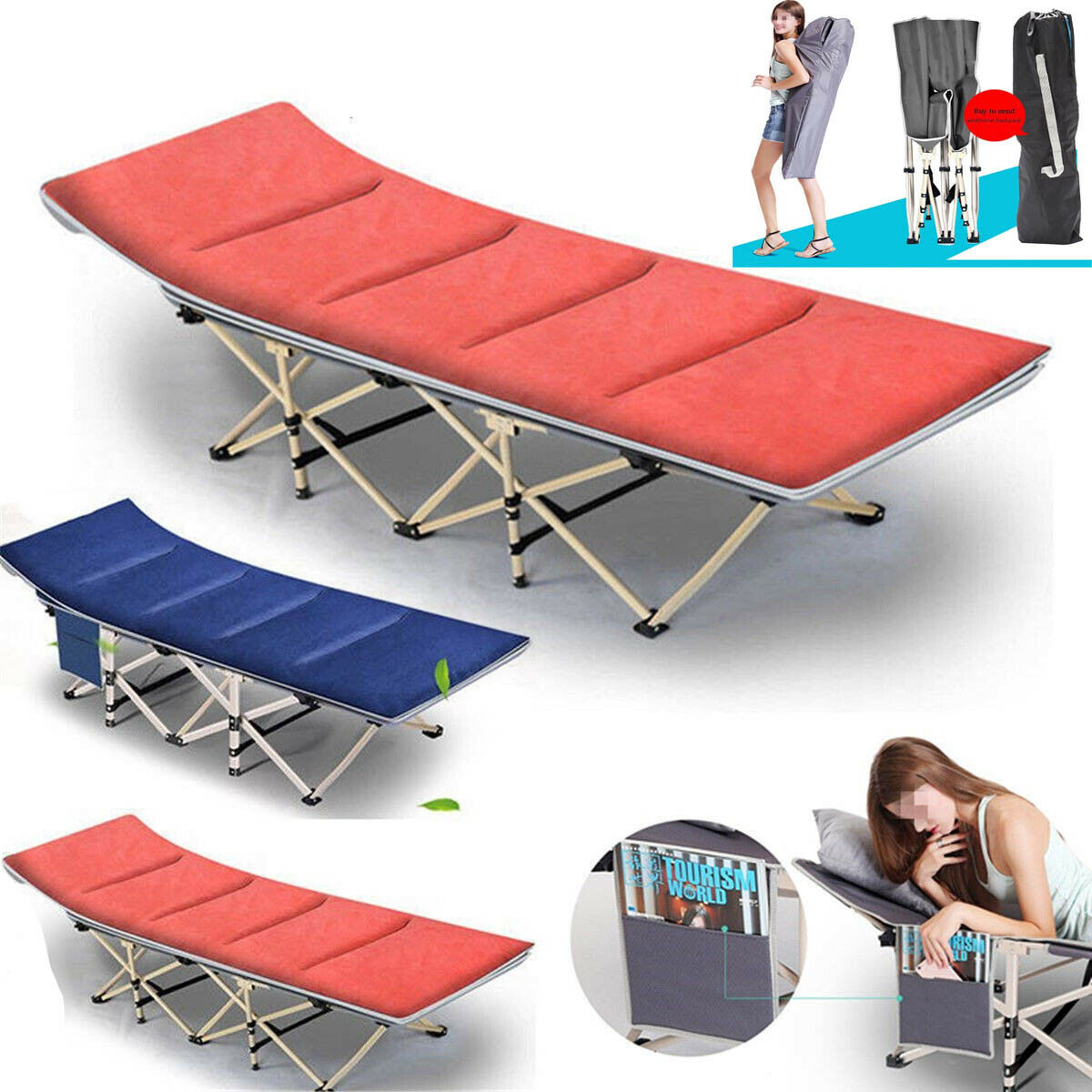 Portable Folding Bed Stable Camping Cot Outdoor Travel Sleep