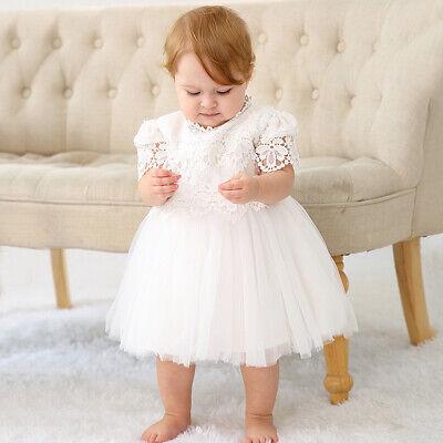 Infant Girls Christening Birthday Lace Dress Baby Wedding Baptism Gown Dresses