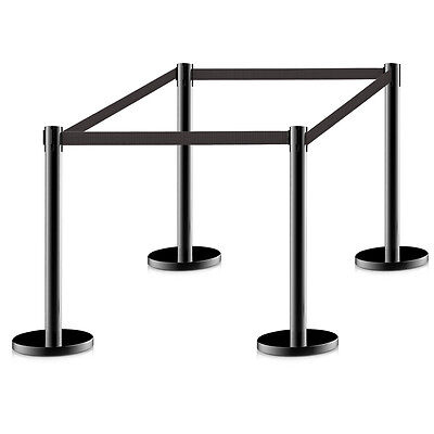 4Pcs Stanchion Posts Queue Pole Retractable Black Belt Crowd Control Barrier