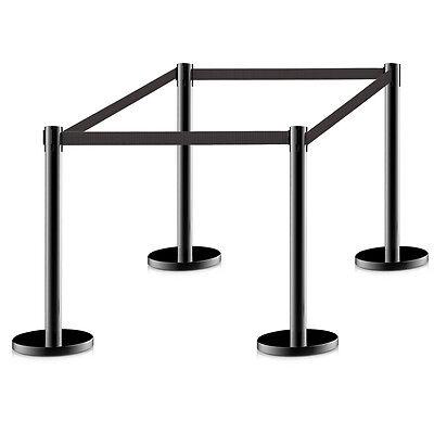 4Pcs Stanchion Posts Queue Pole Retractable Black Belt Crowd Control Barrier