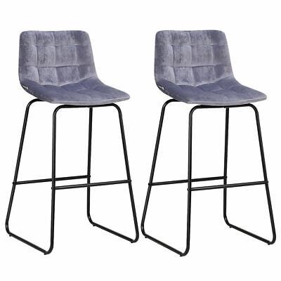 2-Set Simple Velvet Bar Stools Metal Leg Pub Chairs Counter