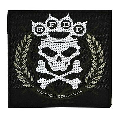 "5FDP ""Five Finger Death Punch"" Knuckle Crown Skull Sew-On Patch Metal Band Merch"