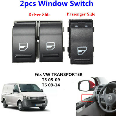 2X Electric Window Switch Button Passenger &Driver Side For VW Transporter T5 T6
