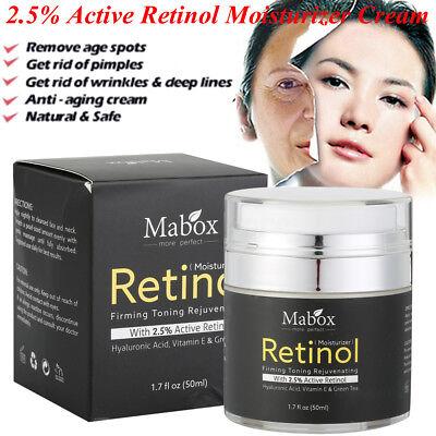 Mabox Retinol 2.5% Moisturizer Cream- Face and Eye area w/Vitamin E, Green Tea