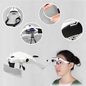 Headset Head LED Lamp Light Jeweler 5 Magnifier Magnifying Glass Loupe Headband