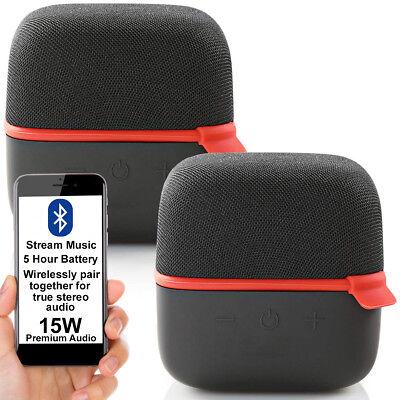 2x 15W Altavoz Bluetooth Kit -red- True Estéreo Inalámbrico Portátil Recargable