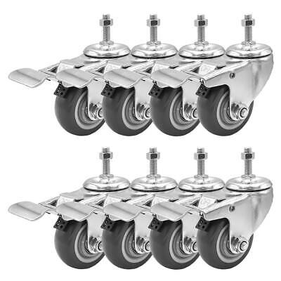 8 Pack 3 Inch Stem Casters Swivel With Brake Grey Pu Caster Wheels