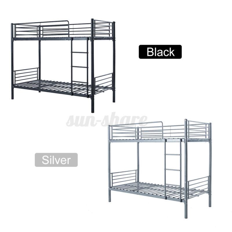 Metal Twin Bunk Beds Frame Over Twin Bed Ladder For Kids Adult Bedroom Children