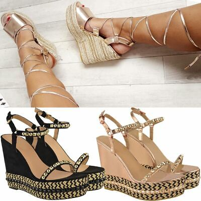 Ankle Strap High Wedge (Womens Ladies Wedge High Heels Studded Ankle Strap Party Sandals Platforms Shoes)
