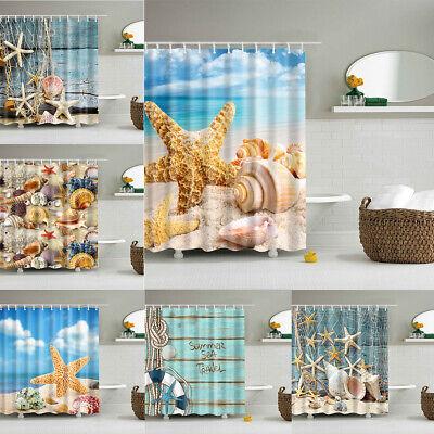 Shower Curtain Beach Ocean Sea Shell Starfish Fishing Nets Theme Bathroom Decor ()