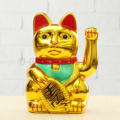 6'' Chinese Lucky Waving Hand Maneki Neko Gold Fortune Feng Shui Cat //~
