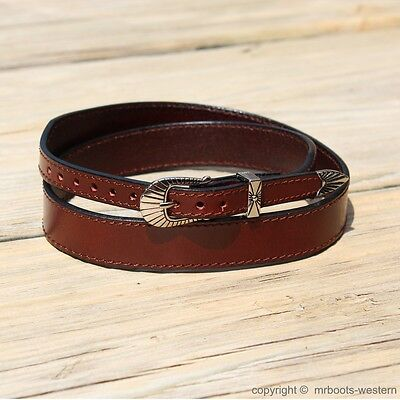 "Western Leather Hat Band for Cowboy Hats Plain Brown Leather 3/4"" Wide"
