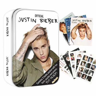 Justin Bieber Gift Present Tin - 3 Books with Facts - Puzzles Posters & Stickers