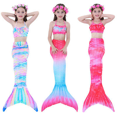 Kids Girls Swimsuit Swimmable Mermaid Tail Swimming Tropical 3pcs Bikini Sets