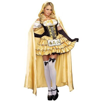Dreamgirl Goldlöckchen Bärenmuster Märchen Gold Sexy Damen Halloween Kostüm - Goldlöckchen Kostüm Damen