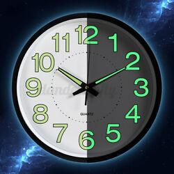 12'' Modern Luminous Large Quartz Wall Clock Glow In The Dark For Bedroom Office