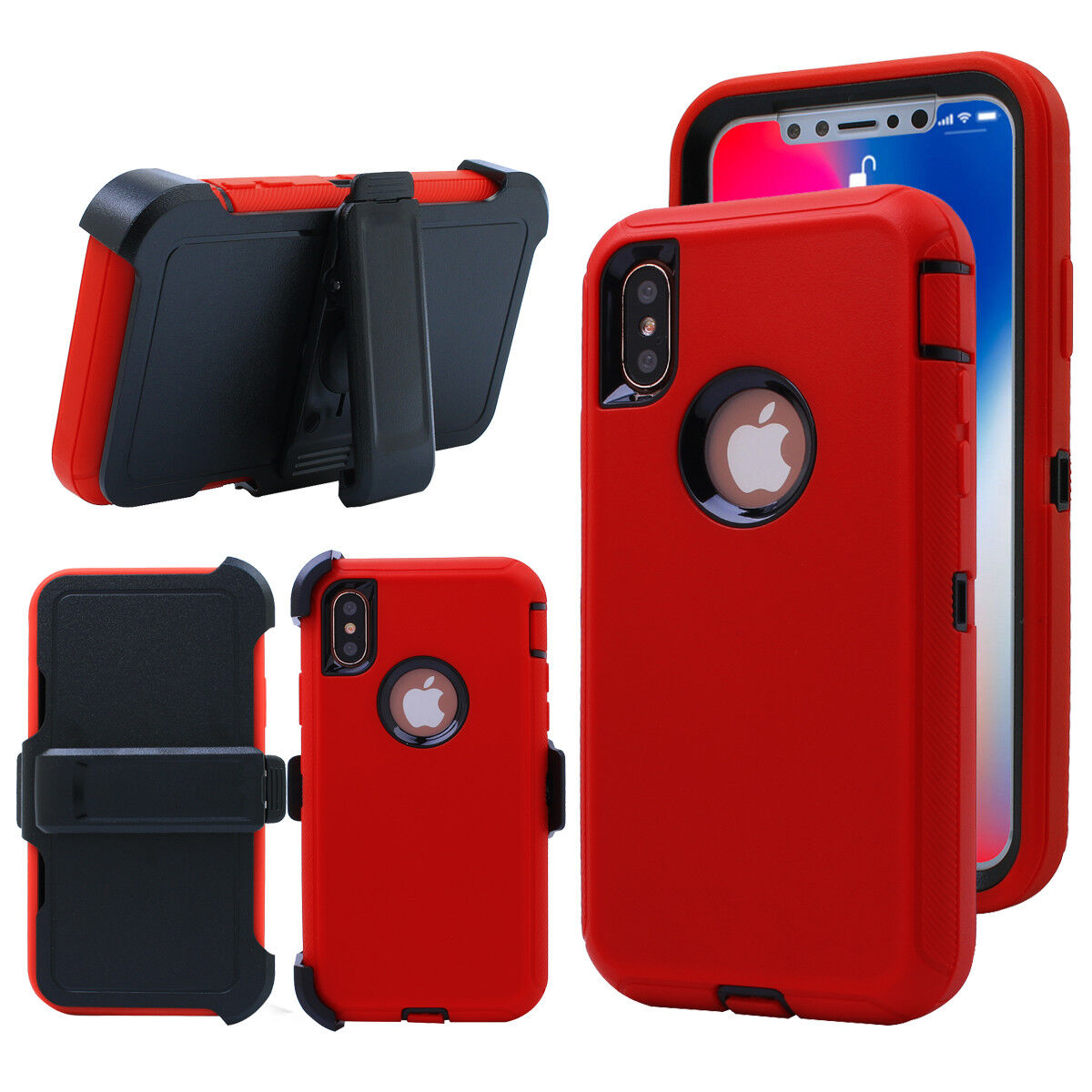 iPhone X 8 7 6s Plus Shockproof Hard Defender Protective Case Cover w/Belt Clip