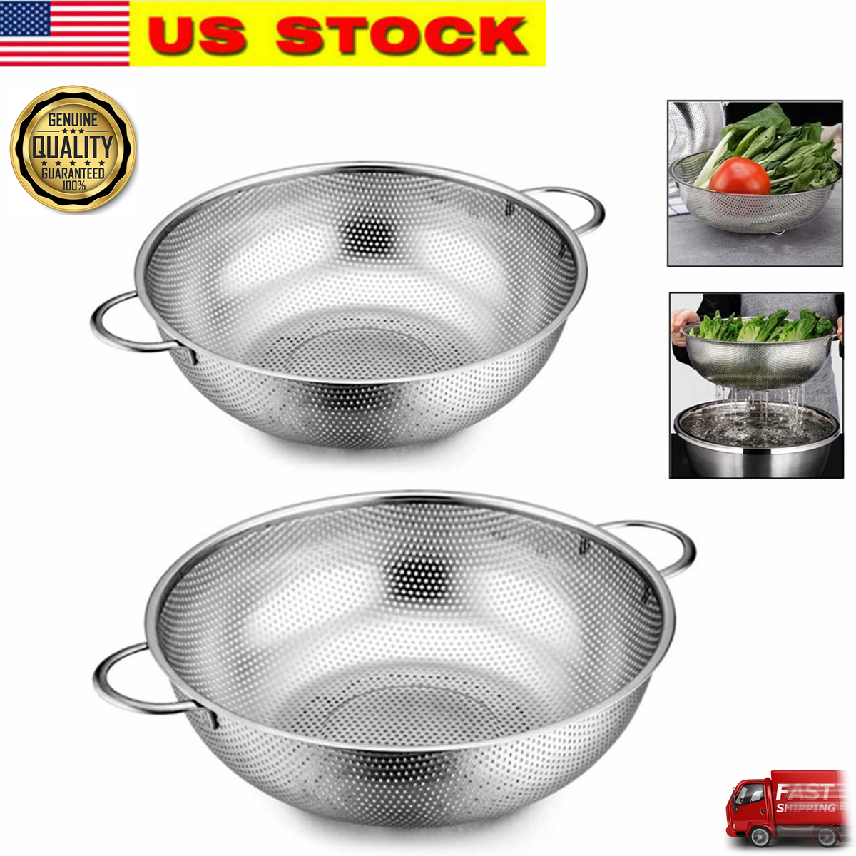 Cook Pro 2 Piece Stainless Steel Mesh Strainer Set For Sale Online Ebay