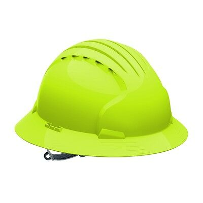 JSP Full Brim Hard Hat with 6 Point Slip Ratchet Suspension, Hi-Vis Green