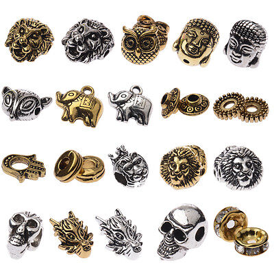 DIY Buddha Head Lion Owl Fox Head Charm Alloy Beads Fit Animal Bracelets 10PCS - Fox Charm