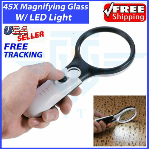 45X Magnifying Glass Handheld Magnifier 3 LED Light Reading Lens Jewelry Loupe