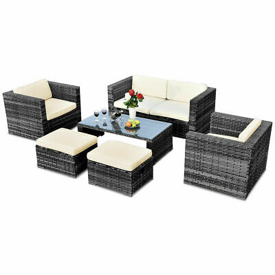 Garden Furniture - 6 PCS Rattan Wicker Sofa Sectional Furniture Set Patio Garden Backyard Gray New