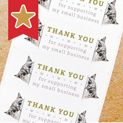 Thank You Labels Stickers For Online Shop Sellers 100ct - Peeking Cats