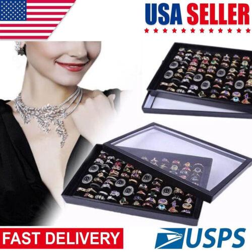 Black 100 Ring Women Jewelry Display Case Box Storage Holder