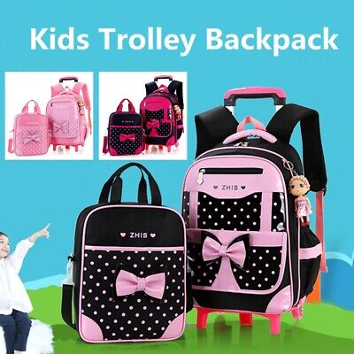 2Pcs Girls Bowknot School Bag Luggage Trolley Backpack Remov
