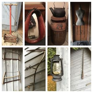 Antiques,Saws,Metal Cart,Mirror,Milk Can,Kettle,More