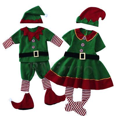 Cute Costumes For Men (Adult Kids Santa's Little Helper Elf  Fancy Dress Cute Green Christmas)