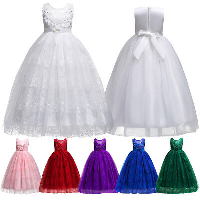 Princess Long Tulle Gown Dresses Junior Wedding Party Flower Girl Dress for Kid