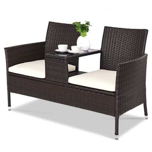 Garden Furniture - 2 Seater Rattan Chair Garden Patio Outdoor Furniture Wicker Love Seat With Table