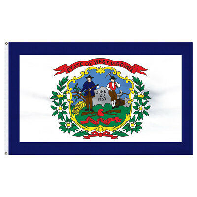 - West Virginia Flag 4 x 6 Feet Nylon Flag-Indoor: Add Pole Hem & Fringe