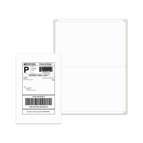 1000 Shipping Labels 8.5x5.5 Rounded Corner Self Adhesive 2 Per Sheet PACKZON