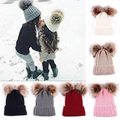Mom&Newborn Baby Boy Girls Winter Warm Double Pom Bobble Knit Beanie Hat Kid Cap