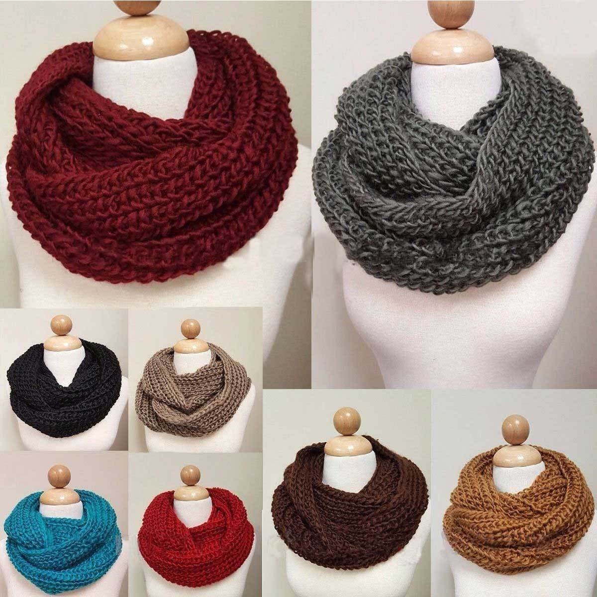 Scarf -  Women's Warm Winter Infinity Circle Cable Knit Cowl Neck Thick Scarf Shawl Wrap