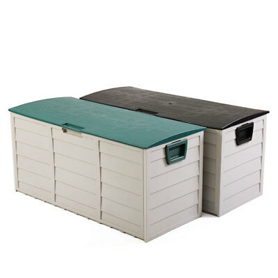 """44"""" Deck Storage Box Outdoor Patio Garage Shed Tool Bench Container Gray/Green"""