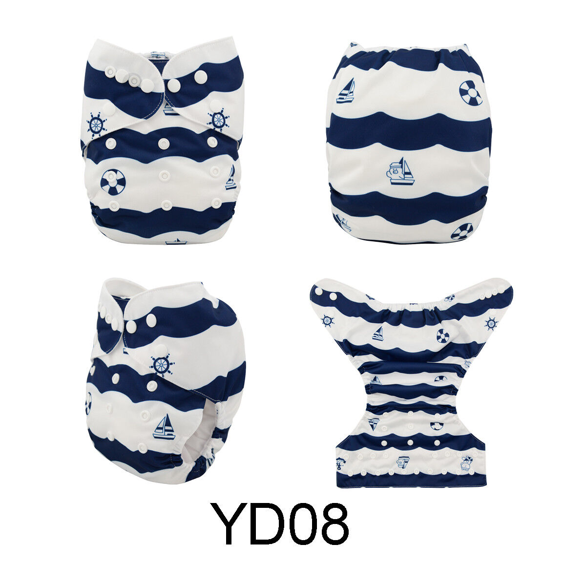 ALVABABY Reusable Baby Cloth Diapers OneSize Washable Pocket Nappies With Insert YD08